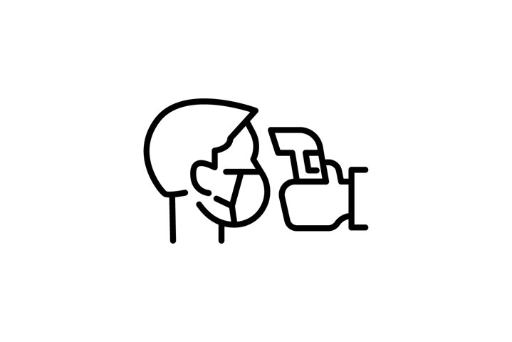 Simple Icon Illustration Showing Body Temperature Check