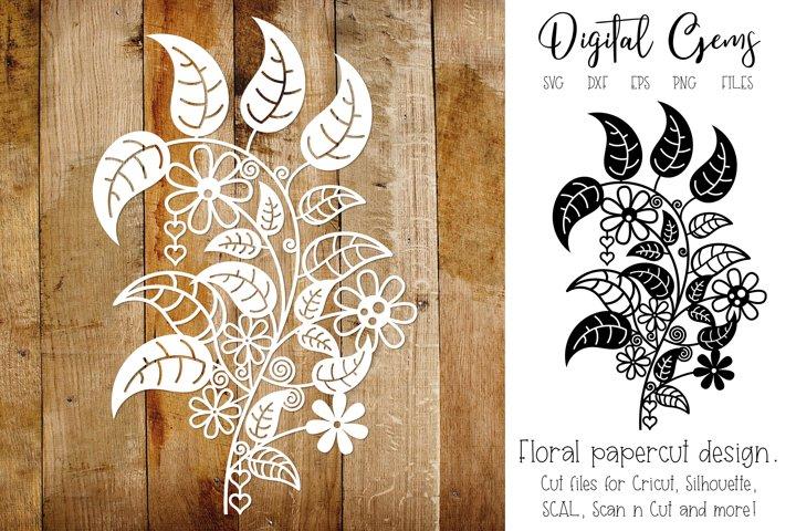 Floral flower paper cut design. SVG / DXF / EPS / PNG