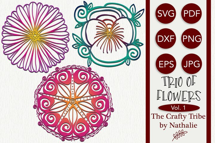 Daisy Pansy Morning Glory Trio Of Flowers SVG Cut Files