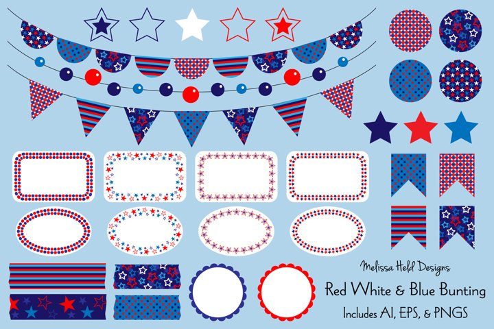 Red White Blue Bunting & Labels