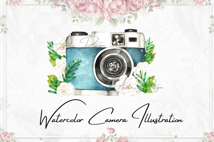 Camera with watercolor flowers clipart, Gift to photographer