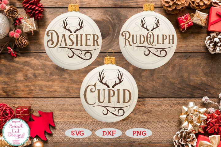 Reindeer Names Bundle SVG, Christmas Ornament SVG,Rustic SVG