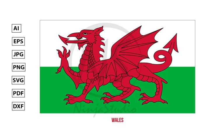 Wales Flag Vector. Countries of the United Kingdom