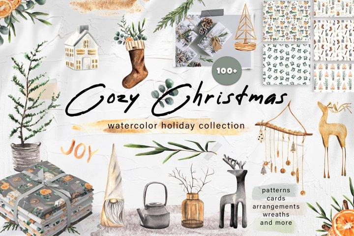 Cozy Christmas Watercolor Decor Set. Cards, Wreaths,Patterns