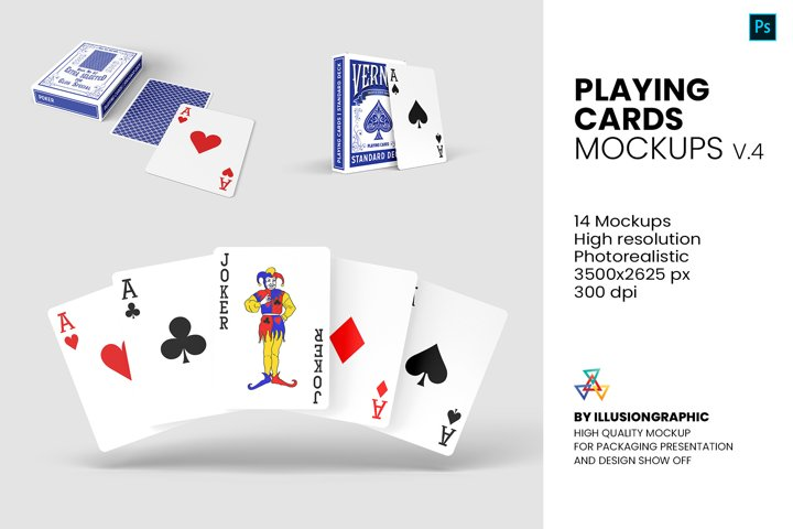 Playing Cards Mockups - v.4 - 14 Views
