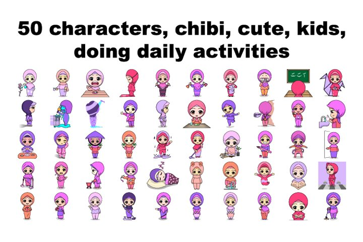 50 kids, characters, chibi, cute, doing daily activities