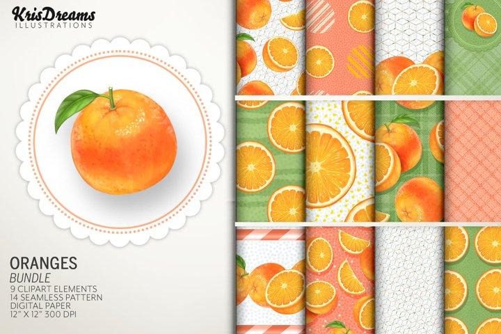Oranges Clipart and Digital Paper Graphics Bundle