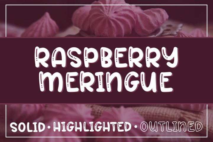 Raspberry Meringue Font Trio - Solid, Highlighted, Outlined