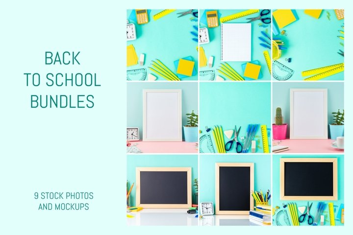 Back to school concept on blue background