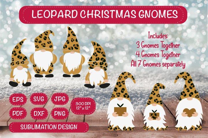 Leopard Christmas Gnome Bundle. Gnome Sublimation Clipart.