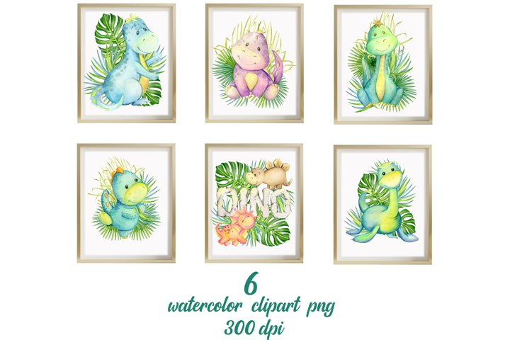 Watercolour clipart. Dinosaur print and tropical leaves.