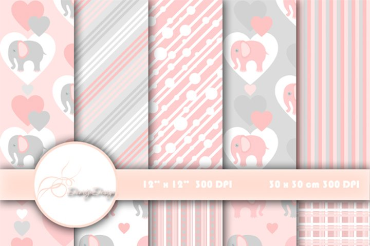 Digital paper pack Elephant Pink