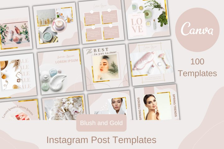 100 Blush and Gold Canva Instagram Posts Templates