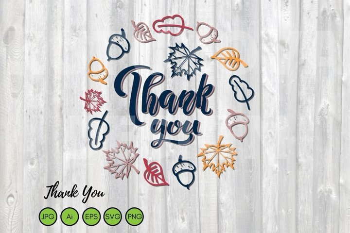 Thank You Wreath SVG. Falling leaves frame with Thank You