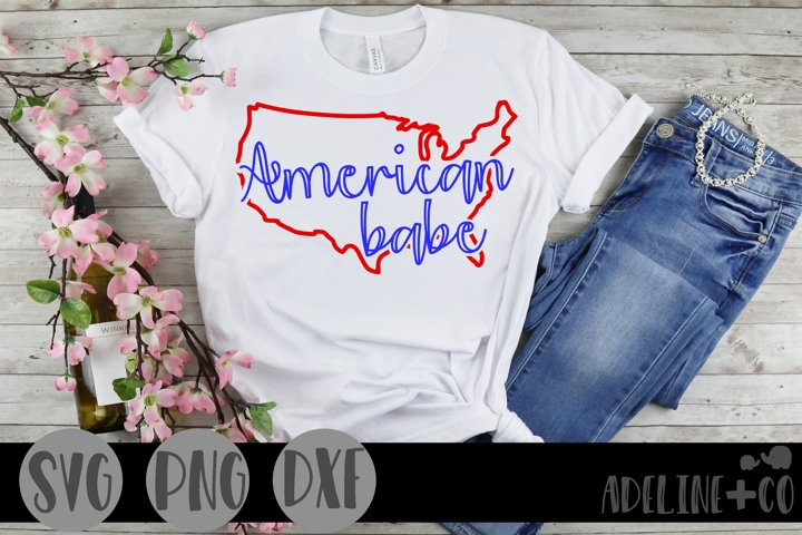 American babe, SVG, PNG, DXF, cut file