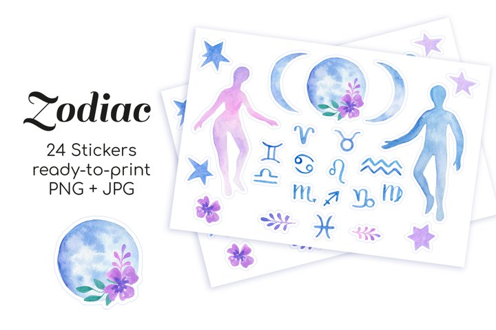 Zodiac and astronomy watercolor printable celestial stickers