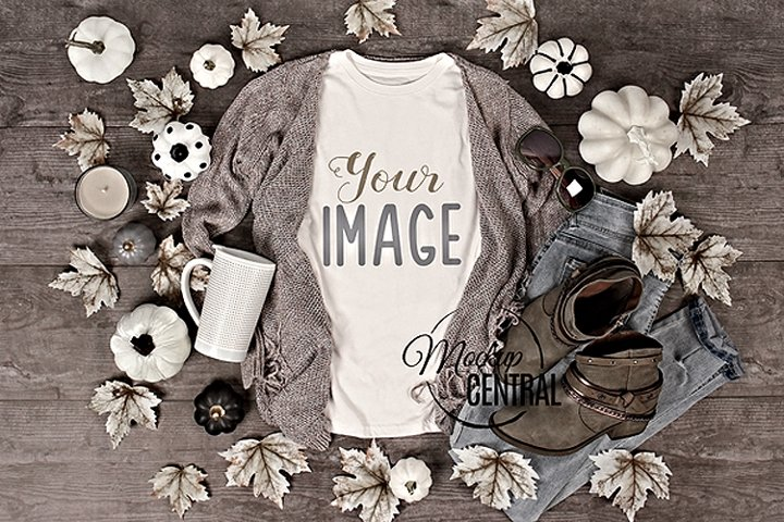 Womens Fall Shirt Mockup T-Shirt Styled Fashion Apparel JPG