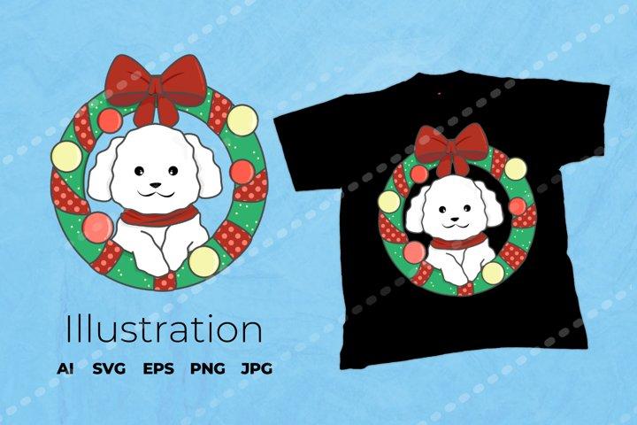Christmas Dog Illustration | Dog Vector