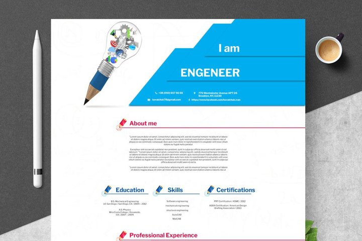 Engineering Resume Template PSD