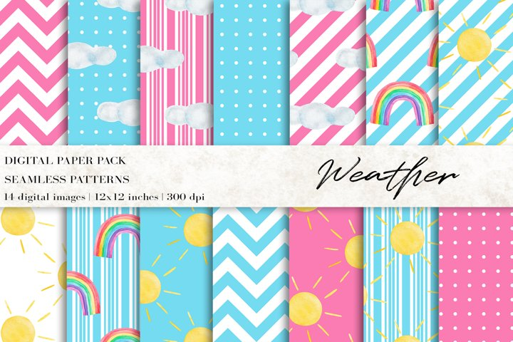 Watercolor Weather Digital Papers
