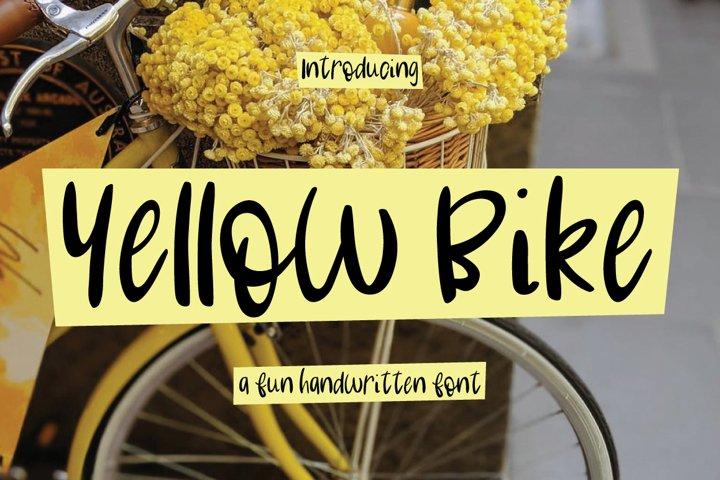 Yellow Bike - an odd handwritten font