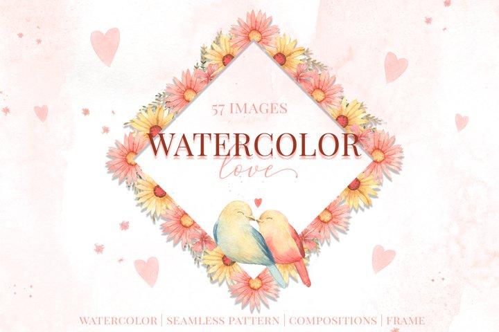 Watercolor Love. Valentine day
