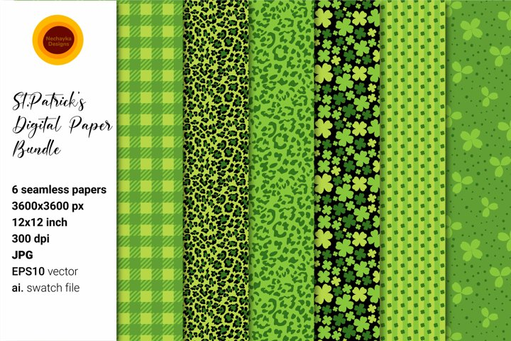St Patrick Paper. St Patrick Pattern. Shamrock patterns.