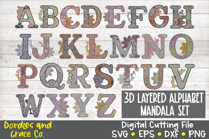 3D Layered Alphabet Mandala Bundle - SVG - PNG - EPS - DXF