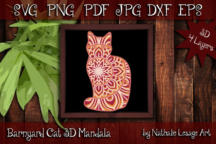 3D SVG Mandala Barnyard Cat 4 Layers Cutting File House Pet
