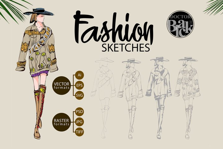 Hand drawn Fashion Sketches. Trendy look girls