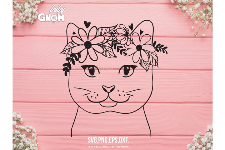 Cat Face SVG, Cat with Flower Crown SVG, Cat cut file, Anima