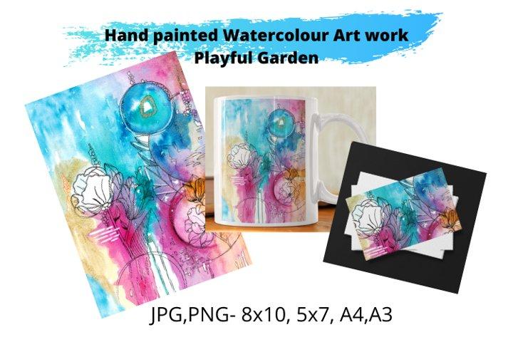 Watercolour Art Print- Playful Garden