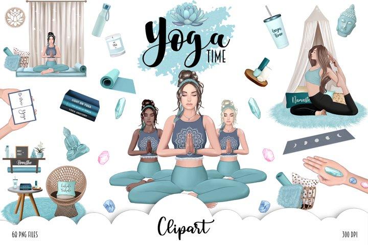 YOGA GIRL Clipart Meditation Fashion Girl Illustration