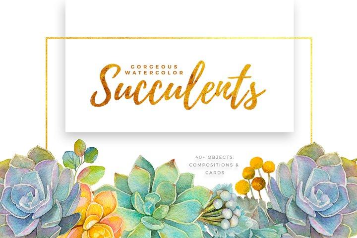 Gorgeous Watercolor Succulents
