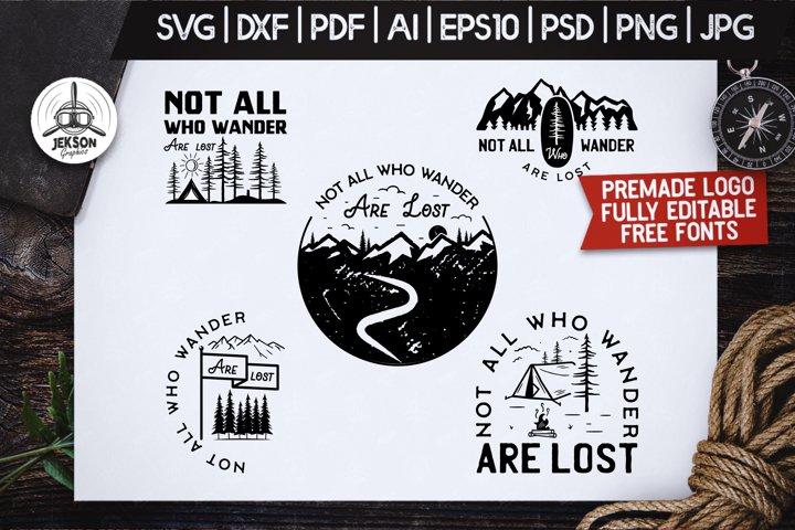 Mountain Camp Logos, Retro Wanderlust Badges, Shirt SVG Cuts