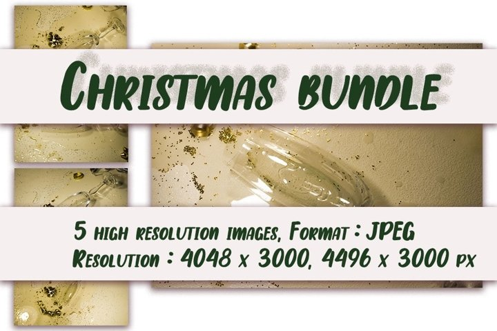 Set of 5 images. Festive still life with spilled champagne.