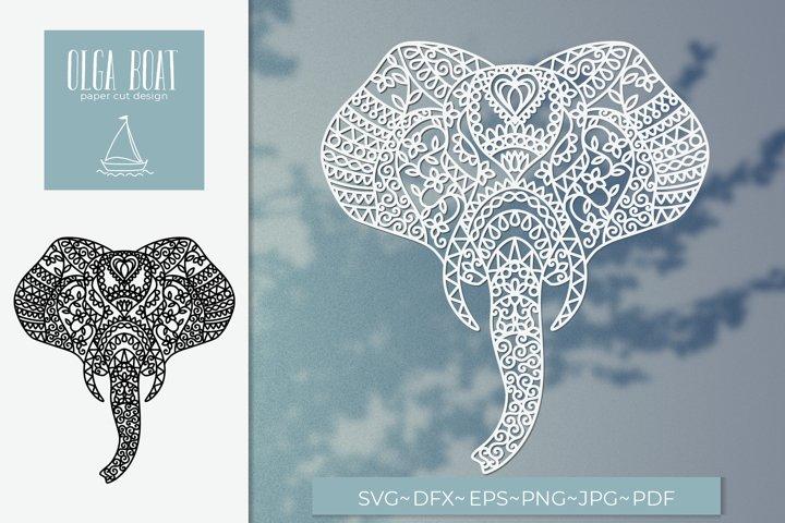 Elephant svg Paper cut elephant Elephant mandala svg Boho