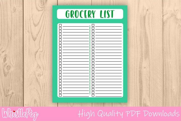 Printable Grocery Checklist Shopping List