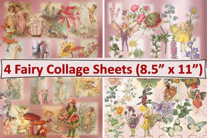 Fairy and Botanicals Collage Sheets JPEG and PDF Pack of 4