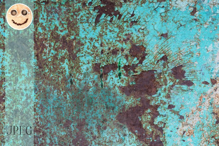 Cracked paint and rusted metal background