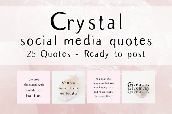 25 x Pink Crystal Social Media Quotes