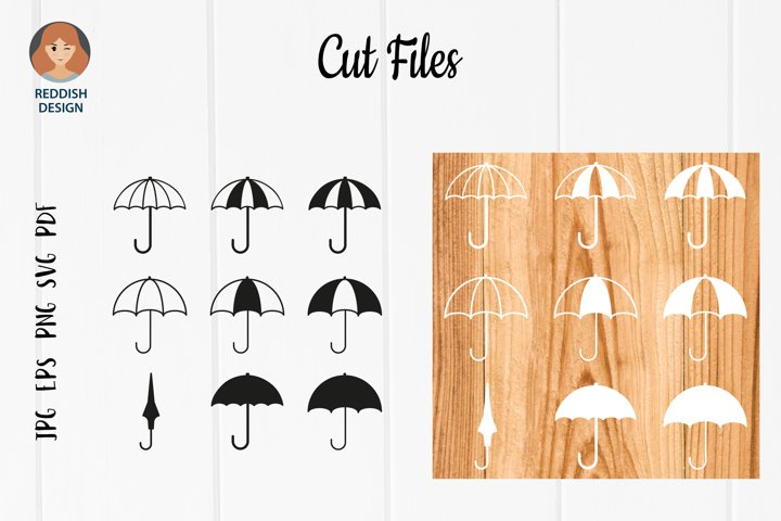 Umbrella SVG silhouette cut file, rainy day, umbrella set