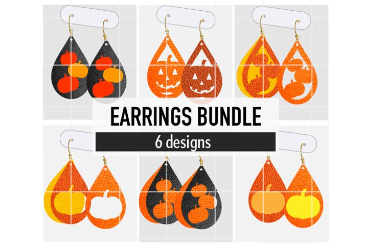 Pumpkins Earrings Bundle / Leather / Faux / Wood / Laser