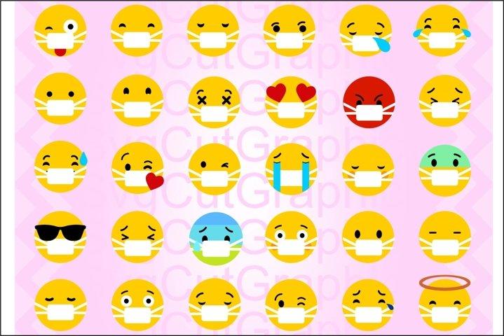 Emoji SVG Bundle, Emoji With Mask SVG DXF PNG, Cricut Files