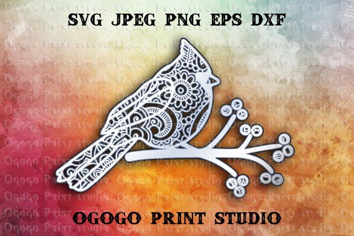 3D Layered Mandala SVG, Cardinal SVG, Zentangle SVG, Bird