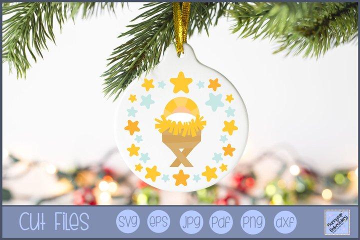 Baby Jesus Christmas Laurel SVG | Christmas SVG