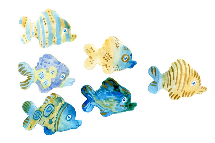 Watercolour isolated fishies