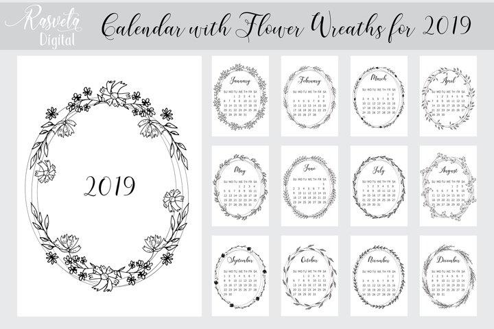 Desk calendar 2019 PRINTABLE A4, Botanical Floral Sketch