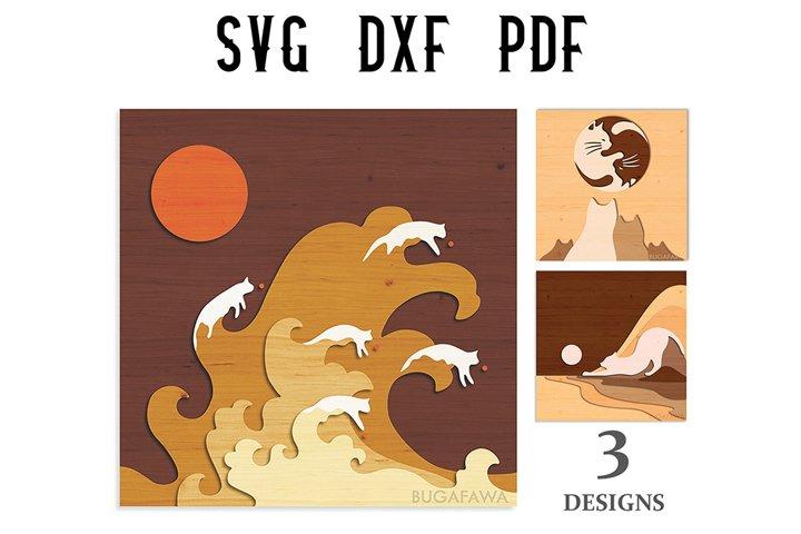 3 Japanese Layered Cat Wall Decor Cut File - SVG/DXF