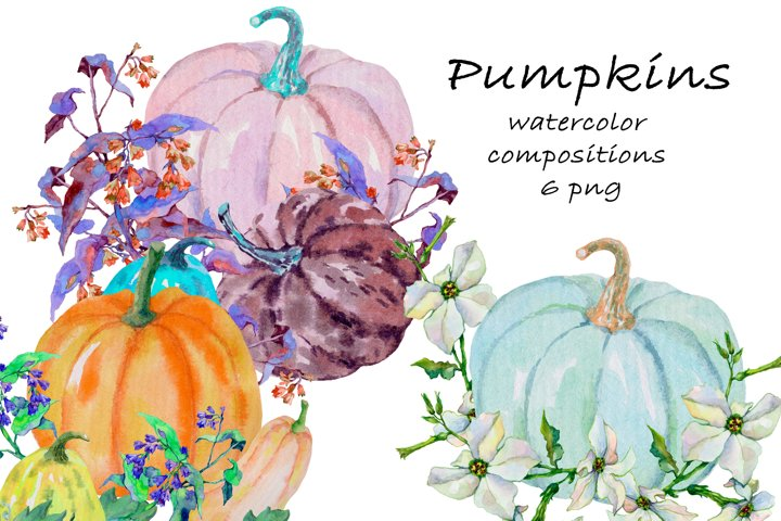 Pumpkins. Composition. Watercolor clipart.